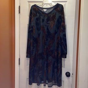 LuLaRoe Teal Feather Print Emily Swing Dress